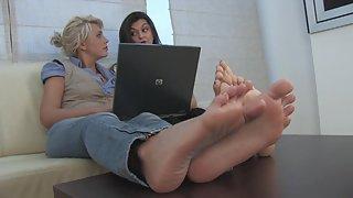 Femdom - FeetJeans - Selena and Georgia - barefoot show