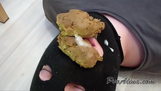 PooAlina - in stockings pooping in mouth toilet slave and spits Close-up