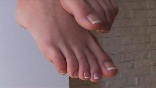 Femdom - FeetJeans - Hot Selina teasing barefoot on the bar