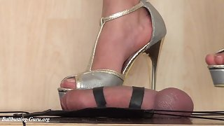 Full Weight Climax Dance by Sara Alfaros in silver High Heels