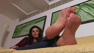 Femdom - FeetJeans - Leticia rubbing her soles on the sofa