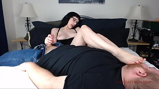 Sexy Saffron - My Smelly Feet in Your Face While I Stroke Your Cock
