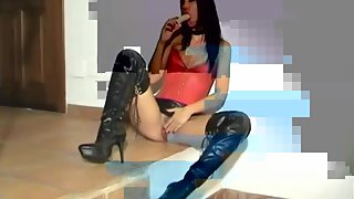 Fetish Liza - Black long boots and cock