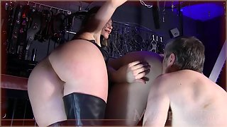 Mistress T - tricked into licking man ass