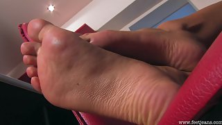 Femdom - FeetJeans - Hot Gloria puts her soles on your face