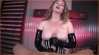 Mistress T - porn cock milked with latex gloves
