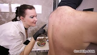 Mistress Olivia Decorates Her Slave's Flesh with Needles