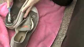 GreedyBlondes - Princess Lyne Slave girl cleans My sneakers