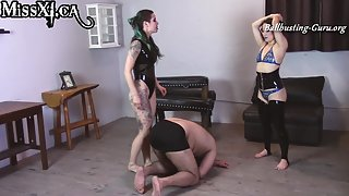 Miss XI & Lady Shaynes - Latex Ballbusting Fun