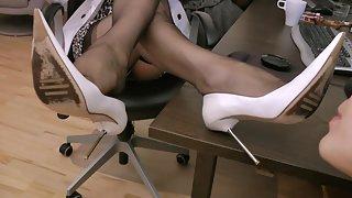 GoddessLeyla - White Stilettos Black Nylons