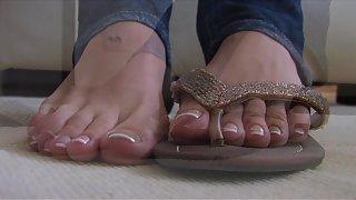 Femdom - FeetJeans - Beautiful Selina massaging her sexy feet